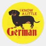 I Know A Little German Round Sticker