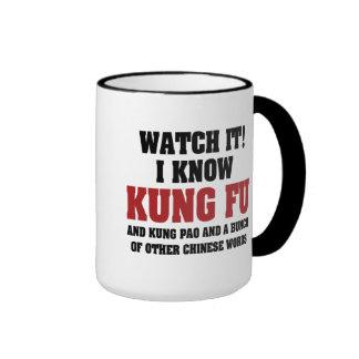 I Know Kung Fu Ringer Coffee Mug