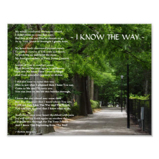 I KNOW THE WAY POEM POSTER