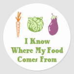 I Know Where My Food Comes From Round Stickers