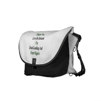 I Know You Love Me Because I'm Good Looking And Fr Messenger Bags