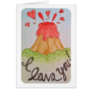 I lava you I love you watercolor valentine Card
