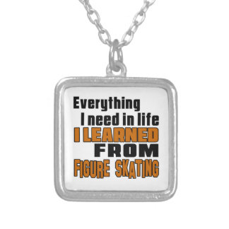 I learned From Figure Skating Square Pendant Necklace