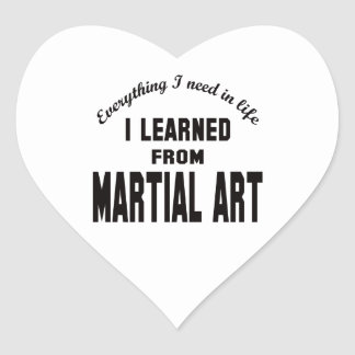 I Learned From Martial Art. Heart Sticker