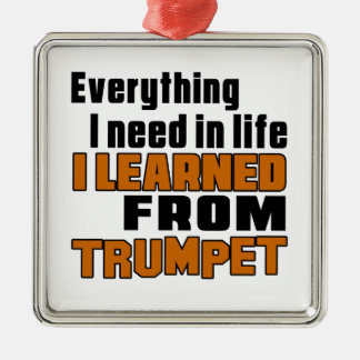 I Learned From Trumpet Silver-Colored Square Decoration