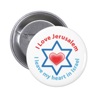I Leave my heart in Israel - I love Jerusalem 6 Cm Round Badge
