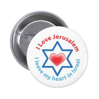 I Leave my heart in Israel - I love Jerusalem 6 Cm Round Badge