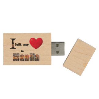I left my heart in Manila - Love Gift Flash Drive Wood USB 2.0 Flash Drive