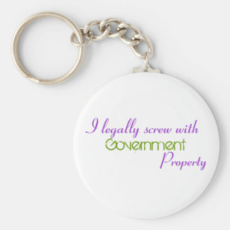 I legally screw with , Government, Property Basic Round Button Key Ring