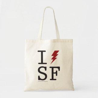 I [lightning bolt] SF Canvas Tote Budget Tote Bag