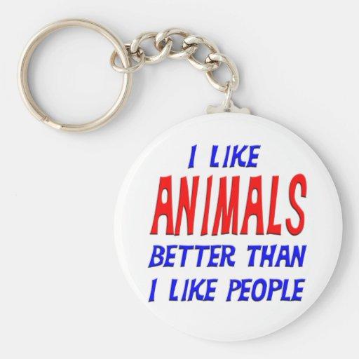 I Like Animals Better Than I Like People Keychain