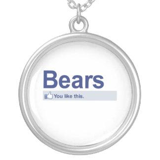 I Like Bears Round Pendant Necklace