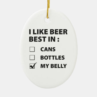 I Like Beer Best In My Belly Christmas Ornament