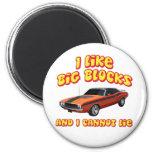I Like Big Blocks & I Cannot Lie Dodge Challenger 6 Cm Round Magnet