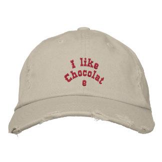 I like chocolate embroidered baseball caps