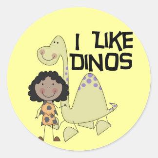 I Like Dinos - African American Girl Round Sticker