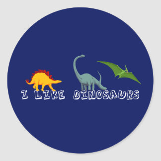 I Like Dinosaurs Blue Round Sticker