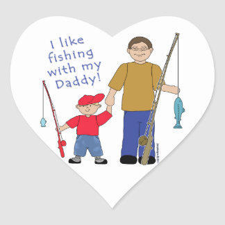 I Like Fishing With My Daddy Boy in Red Heart Sticker