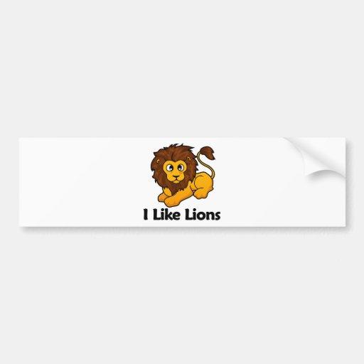 I Like Lions Bumper Stickers