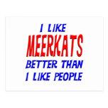 I Like Meerkats Better Than I Like People Postcard