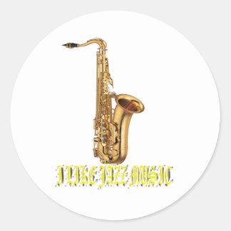 I Like Music Jazz Round Stickers
