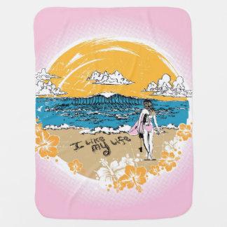 """I like MY life"" beach girl blankie Receiving Blankets"