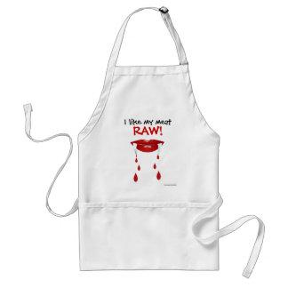 I like my meat raw. Fangs teeth blood vampire Standard Apron