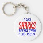 I Like Sharks Better Than I Like People Keychain