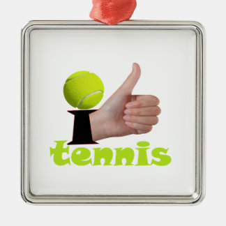 I Like Tennis Silver-Colored Square Decoration