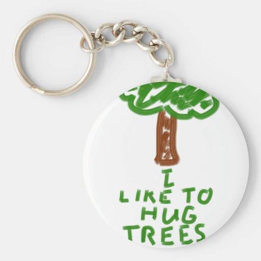 I Like to Hug Trees Keychain