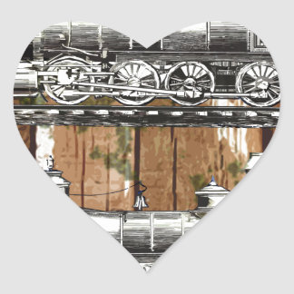 I Like Trains Heart Sticker