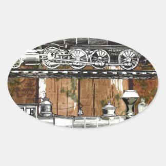I Like Trains Oval Sticker