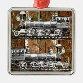 I Like Trains Silver-Colored Square Decoration