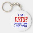 I Like Turtles Better Than I Like People Keychain