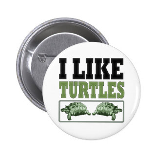I Like Turtles Big Text 6 Cm Round Badge