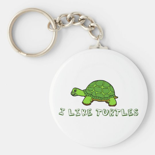 I Like Turtles Green Cute Basic Round Button