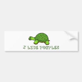 I Like Turtles Green Cute Bumper Sticker