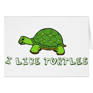 I Like Turtles Green Cute Card