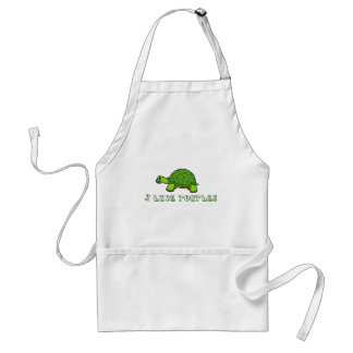I Like Turtles Green Cute Standard Apron