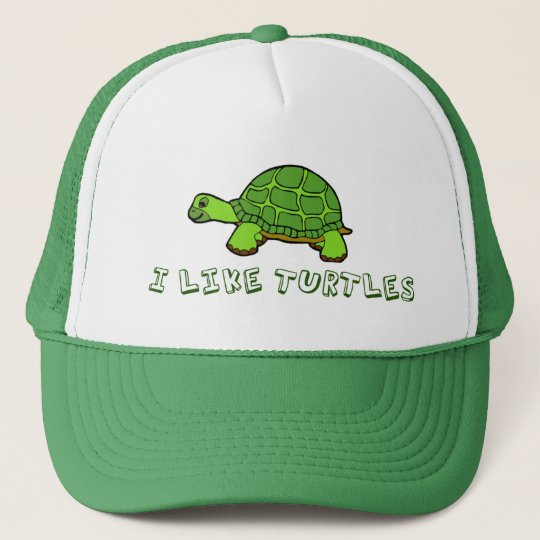 I Like Turtles Green Cute Trucker Hat