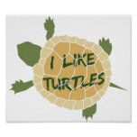 I Like Turtles Poster