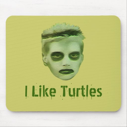 I Like Turtles Zombie Kid Mousepad Zazzle