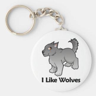 I Like Wolves Basic Round Button Key Ring