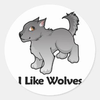 I Like Wolves Round Sticker