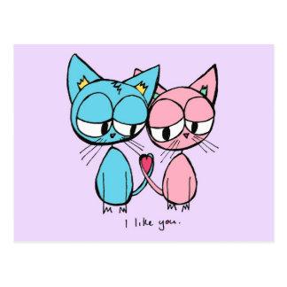 i like you - blue and pink kitties postcard
