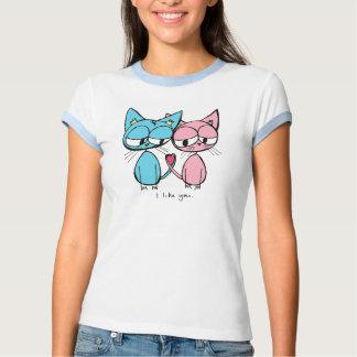 i like you - blue and pink kitties t-shirt