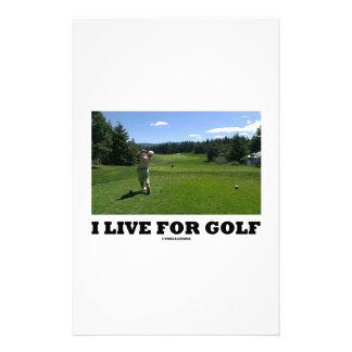 I Live For Golf (Golfer On Golf Course) Custom Stationery