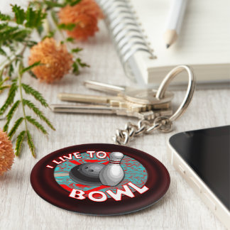 I live to bowl basic round button key ring
