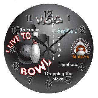 I Live to Bowl Large Clock