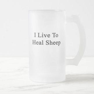 I Live To Heal Sheep Frosted Glass Mug